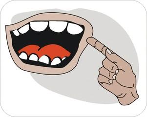 Sprichwörter - bildlich dargestellt - Redewendung, Sprichwort, Umgangssprache, Zähne, zeigen, bildhaft