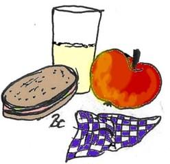 Jause - Frühstück - Essen, Nahrung, Jause, Pausenbrot, Brot, Apfel, Milch, Milchglas, Pausenfrühstück, Schulfrühstück