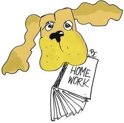 Hund - Hund, Humor, Tier, homework, Erinnerung, Pflicht, Illustration