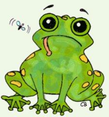 Frosch - Frosch, Amphibie, Tier, grün, Anlaut F, Hunger, Beute, Humor, Illustration, Wörter mit sch