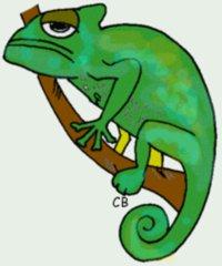 Chamäleon - Tier, Reptil, Chamäleon, grün, Anlaut Ch, grimmig, böse, Humor, Illustration
