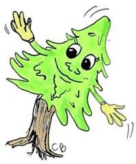 freundlicher Baum #2 - Pflanze, Baum, Natur, Humor, freundlich, Wald, Tanne, Fichte, Nadelbaum, Illustration, Personifizierung
