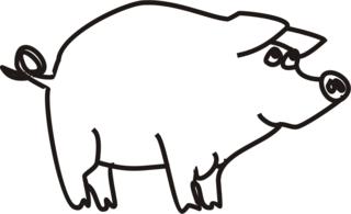 Schwein - Schwein, Ferkel, Bauernhof, Hoftiere, Anlaut Sch, Illustration