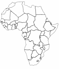 Afrika politisch - Afrika, Umriss, Grenzen, Karte, Länder, Outline, Topographie, blanko, map