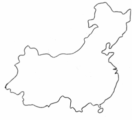China Umriss - Umriss, Karte, China, Outline, Topographie, blanko, map