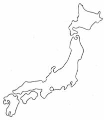 Japan Umriss - Japan, Karte, Umriss, Outline, Topographie, blanko, map