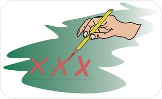 Sprichwörter - bildlich dargestellt - Sprichwort, Redewendung, Umgangssprache, bildlich, drei, Kreuze