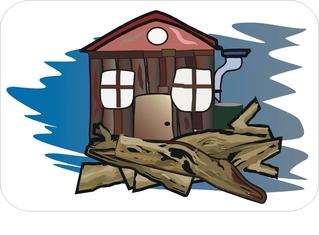 Sprichwörter - bildlich dargestellt - Sprichwort, Redewendung, Umgangssprache, bildlich, Holz, Hütte