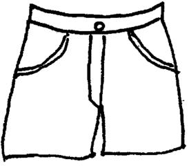 Hose - Hose, Hosenbund, Hosenbeine, kurz, Taschen, Bekleidung, Anlaut H