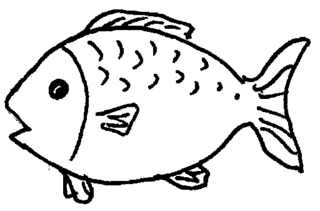Fisch - Fisch, Illustration, Anlaut F, Wörter mit sch