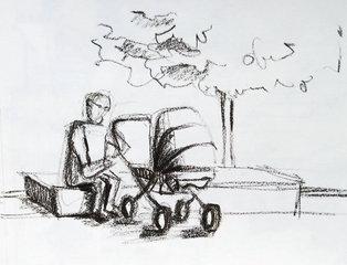 Vater mit Kinderwagen - Vater, Kinderwagen, ausruhen, Skizze, Kunst, Studie