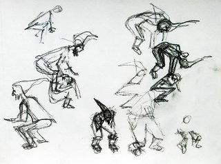 Zwerge #2 - Zwerge, Bewegung, Purzelbaum, übereinander, hopsen, hüpfen, Skizze, Menschzeichnung, Wichtel, Bewegungsstudie
