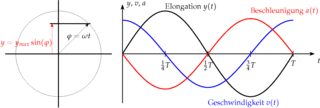 Zeit-Elongation-Gesetz der harmonischen Schwingung - Physik, Schwingung, Zeit-Elongation-Diagramm, Zeit-Geschwindigkeit-Diagramm, Zeit-Beschleunigung-Diagramm, Diagramm, Funktion