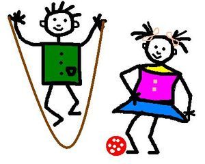 Kinderzeichnung Sport - Kinder, Zeichnung, Strichzeichnung, Gestaltung, Sport, bewegen, spielen, springen, Anlaut K, Anlaut Sp, Verb, Illustration, Junge, Mädchen