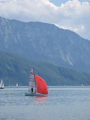Segelboot - Segelboot, Großsegel, Fock, Kontrast, Tiefenwirkung