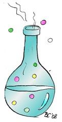 Flasche - Flasche, Versuch, Chemie, Experiment, Zaubertrank, Gebräu, Elixier, Zauberei, Kolben, Glaskolben, Flüssigkeit, Illustration