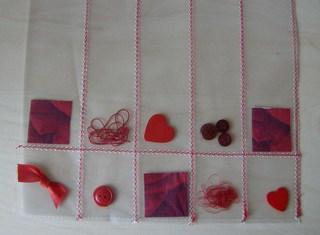 Tasche aus einer Klarsichtfolie #3 - abgenäht, quadrate, Streifen, füllen, befüllen, Streuteile