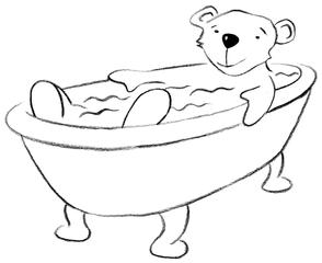 baden - baden, Grundwortschatz, Wanne, Badewanne, Bär, Illustration, bear, tub, bath, bathe