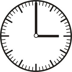 Uhrzeit 3.00   15.00 - Uhr, Uhrzeit, volle Stunde, ganze Stunde, Zeit, Zeitspanne, Zeitpunkt, Zeiger, Mechanik, Zeitskala, Zeitgeber, Analoguhr, Zifferblatt, Ziffernblatt, rechtsdrehend, Uhrzeigersinn, Minute, Kreis, Winkel, Grad, Mathematik, Größen, messen, time, clock, ermitteln, Zeitraum, Dauer, Frist, Termin, Zeitabschnitt
