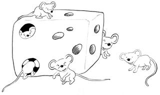 Mäuse rund um den Käse - Grundwortschatz, am, Zeichnung, Käse, Maus, Mäuse, sechs, Illustration, neben, auf, vor, hinter, verstecken, Präposition, Wörter mit äu