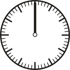 Uhrzeit - Blanko Uhr volle Stunde - Uhr, Uhrzeit, volle Stunde, ganze Stunde, Zeit, Zeitspanne, Zeitpunkt, Zeiger, Mechanik, Zeitskala, Zeitgeber, Analoguhr, Zifferblatt, Ziffernblatt, rechtsdrehend, Uhrzeigersinn, Minute, Kreis, Winkel, Grad, Mathematik, Größen, messen, time, clock, ermitteln, Zeitraum, Dauer, Frist, Termin, Zeitabschnitt, quarter