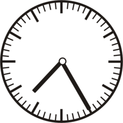Uhrzeit 7.25   19.25 - Uhr, fünf Minuten vor, Uhrzeit, Zeit, Zeitspanne, Zeitpunkt, Zeiger, Mechanik, Zeitskala, Zeitgeber, Analoguhr, Zifferblatt, Ziffernblatt, rechtsdrehend, Uhrzeigersinn, Minute, Stunde, Kreis, Winkel, Grad, Mathematik, Größen, messen, time, clock, ermitteln, Zeitraum, Dauer, Frist, Termin, Zeitabschnitt, twenty-five