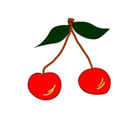 Kirschen - Obst, Anlautbild K, Kirsche, Kirschen, Früchte, Steinobst, Kern, zwei, Mehrzahl, Wörter mit sch