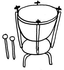 Pauke - Musik, Instrument, Orff-Instrument, Schlaginstrument, Schlägel, Pauke, Membranophone, Kesseltrommel, Timbale, Kettledrum