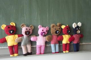 Bären - Bären, nähen, Handarbeit, Textilarbeit, Patchwork, Stoff, Stoffteile, verbinden