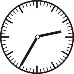 Uhrzeit 2.35 14.35 - Uhr, fünf Minuten nach halb, Uhrzeit, Zeit, Zeitspanne, Zeitpunkt, Zeiger, Mechanik, Zeitskala, Zeitgeber, Analoguhr, Zifferblatt, Ziffernblatt, rechtsdrehend, Uhrzeigersinn, Minute, Stunde, Kreis, Winkel, Grad, Mathematik, Größen, messen, time, clock, ermitteln, Zeitraum, Dauer, Frist, Termin, Zeitabschnitt, thirty-five
