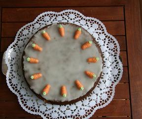 Möhrenkuchen - Kuchen, Möhren, Karotte, Buchweizen, Möhrenkuchen, Rüblitorte, Marzipan, zwölf, Zuckerguss, Karottentorte, Rührmasse, Rührteig