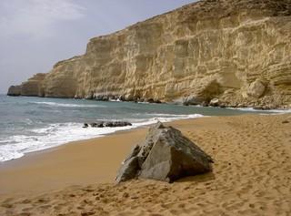 Red Beach - Strand, Steilfelsen, Stein, Wasser, Kreta, Insel, Red Beach, Roter Sand, Griechenland, Mittelmeer, Ufer