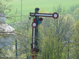 Signal - Signal, Eisenbahn, Zug, Halt, Formsignal, Eisenbahnsignal, mechanisch, beweglich, Signalsystem, Hebel, Hebelgesetz