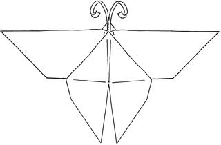 Origami-Schmetterling #1 - Schmetterling, Falter, Origami, Papier, Illustration, falten, basteln, symmetrisch, Symmetrie