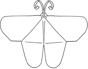 Origami-Schmetterling  #2 - Schmetterling, Falter, Origami, Papier, Illustration, Anlaut Sch, symmetrisch, Symmetrie, basteln