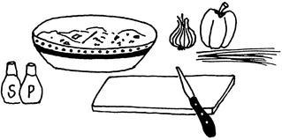 Frühlingsquark - Schüssel, Brett, Messer, Zwiebel, Paprika, Quark, Frühlingsquark, Illustration, Rezept, kochen