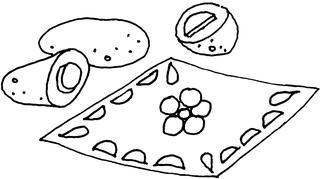 Kartoffeldruck - Stempel, Kartoffeldruck, Deckchen, Kartoffel, Illustration, drucken, stempeln
