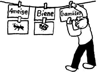 ABC-Wort-Bild-Leine - Leine, Spiel, ABC, Alphabet, Kind, Illustration, Laufzettel, Wortkarten, Bildkarten, aufhängen, klammern, anklammern, lesen, Wort, Bild