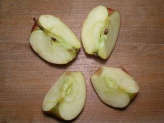 Geviertelter Apfel - Geviertelter Apfel, Apfel, zerteilter Apfel, Mengen, Zahl vier, Stiel, Kerngehäuse, Apfelkerne, Kerne, Viertel, Teil, teilen