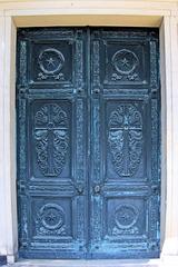 Bronzetür zum Mausoleum - Tür, Flügel, Flügeltür, Bronze, alt, Relief, Kunst, Ornamente, geschlossen