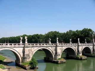 Rom - Engelsbrücke #1 - Italien, Rom, Engelsbrücke, Engelsburg, Tiber, Architektur, Skulptur, Brücke, Fluss, Stadt