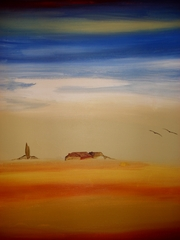 Acrylbild - Landschaft  - Acrylfarbe, Acrylbild, Landschaft, Hütte, Abendstimmung, Bild, malen, Farben, Farbenlehre, kalte Farben, warme Farben