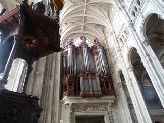 Paris Saint Eustache Orgel - Paris, Frankreich, Kirche, Orgel, Musik, Instrument, katholisch, Religion, Kanzel, Strebepfeiler, Kreuzrippengewölbe, Gotik, Tasteninstrument, Pfeifen