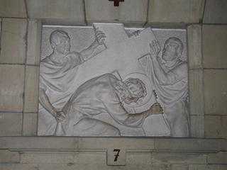 Kreuzweg 7 - Religion, Kreuzweg, Skulptur, Jesus, Kreuz, katholisch, Station, Kreuzwegstation, Leidensweg