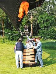 Ballonfahrt #8 - Ballon, Heißluftballon, fliegen, fahren, Wärme, Luft, Auftrieb, Flamme, Korb, Transport