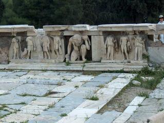 Dionysos-Theater Athen - Atlas, Steinreliefs, Bühnenbild, Orchestra, Dionysos, Theater, Schmuckrelief
