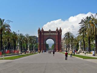 Arc de Triomf (Barcelona) - Spanien, Katalonien, Sehenswürdigkeiten, Barcelona, Süden, Triumphbogen, Bauwerk, Prachtstraße, Straße, Fluchtpunkt, Perspektive