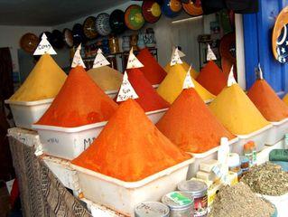 Gewürze - Marokko, Gewürze, Verkauf, warme Farben