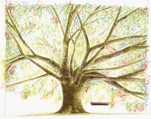 Baum mit Schaukel - Baum, Herbst, Schaukel, Zeichnung, Ast, Äste, Baumstamm, Baumkrone