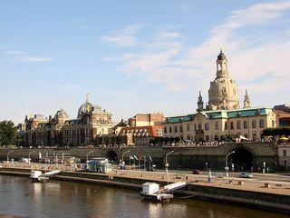 Dresden - Elbe, Dresden, Sachsen, Panorama, Frauenkirche, Brühlsche Terrasse, Kunsthochschule